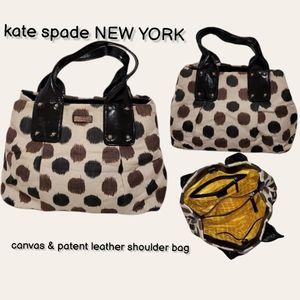 kate spade canvas & patent leather shoulder bag